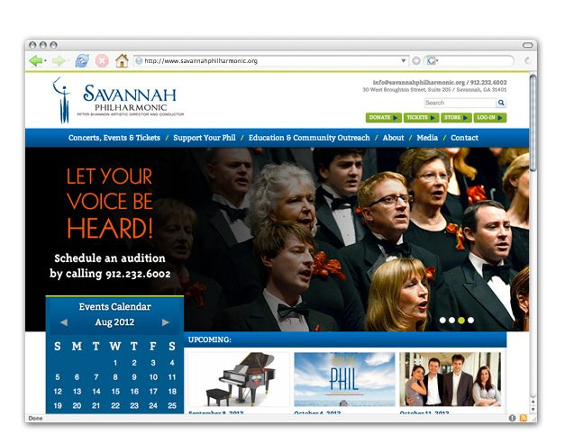 Savannah Philharmonic web design